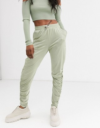 Asos DESIGN satin jogger with ruche detail
