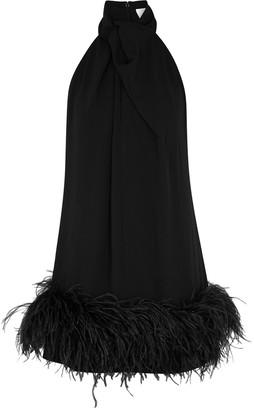 16Arlington 16 Arlington Cynthia Black Feather-trimmed Mini Dress