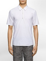 Calvin Klein Platinum Skinny Fit Stretch Poplin Zip-Neck Short-Sleeve Shirt