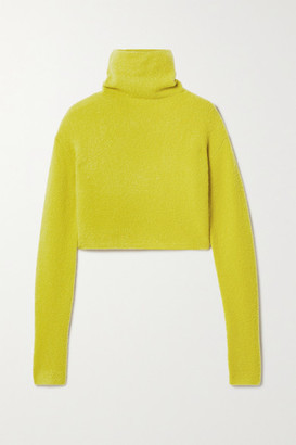 Sally LaPointe Cropped Boucle Turtleneck Sweater - Chartreuse
