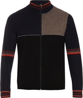 Paul Smith Zip-up panelled wool and silk-blend cardigan
