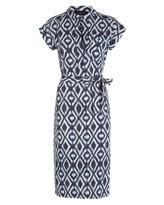 Jaeger Linen Diamond Ikat Shirt Dress