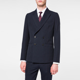 Paul Smith Men's Tailored-Fit Navy Double-Breasted Cotton And Wool-Blend Seersucker Blazer