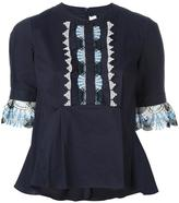 Peter Pilotto fan lace peplum blouse - women - Cotton/Polyamide/Polyester/Spandex/Elastane - 8