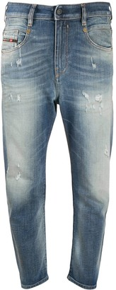 Diesel Cropped Mid-Rise Distressed Jeans