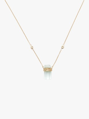 Jacquie Aiche Pave Diamond And Aquamarine Crystal Bar Necklace