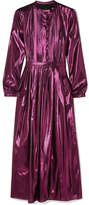 Burberry Pintucked Silk-blend Lamé Midi Dress - Pink