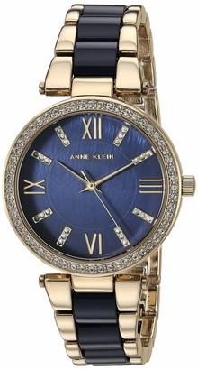Anne Klein Women's AK/3350BNRG Swarovski Crystal Accented Rose Gold-Tone and Brown Resin Bracelet Watch