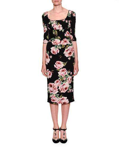 Dolce & Gabbana Elbow-Sleeve Scoop-Neck Rose-Print Sheath Cocktail Dress