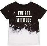 River Island Mini boys black and white slogan T-shirt