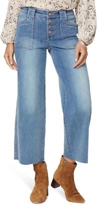 NYDJ Teresa Button Fly Raw Hem Ankle Wide Leg Jeans