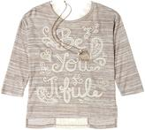 Knitworks KNIT WORKS Girls Lace Appliqué Graphic Shirt With 3/4 Sleeves & Metal Necklace