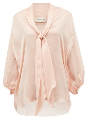 Alexandre Vauthier Tie-neck Silk-satin Chiffon Blouse - Womens - Light Pink