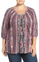 Lucky Brand Geo Print Peasant Top (Plus Size)