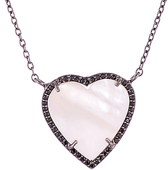 Mother of Pearl Forever Creations Silver 6.50 Ct. Tw. Diamond & Mother-Of-Pearl Open Heart Necklace