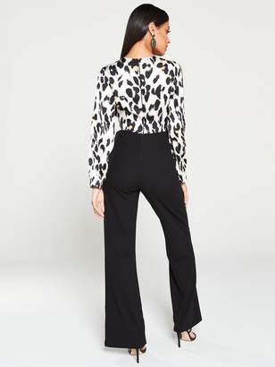 AX Paris Leopard Split Sleeve Jumpsuit - Black