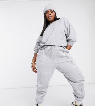 ASOS DESIGN Curve boxy sweatshirt with wide sleeve in grey marle