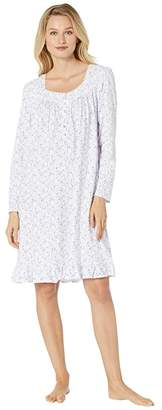 Eileen West Cotton Peached Jersey Long Sleeve Short Nightgown