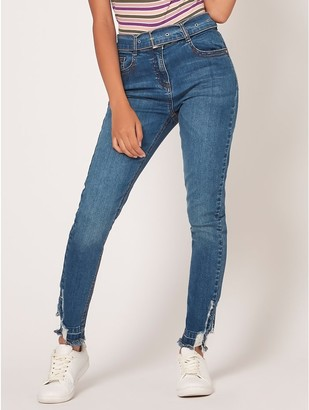 M&Co Teen belted ripped skinny jeans