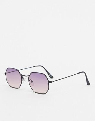 ASOS DESIGN angled sunglasses in matte black with purple grad lens
