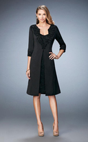 La Femme 21903 Embroidered Strapless Dress with Knee Length Jacket