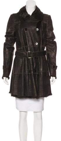 Armani Collezioni Leather Fur-Lined Coat