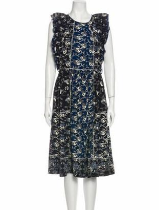 Ulla Johnson Floral Print Midi Length Dress Blue