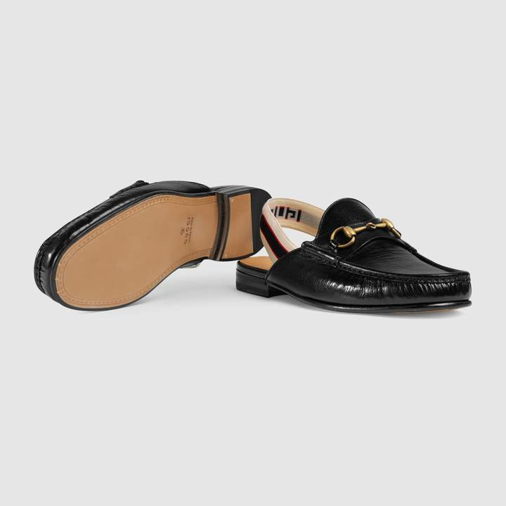 Gucci Horsebit stripe slingback slipper