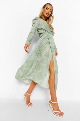 boohoo Scarf Print Side Split Midaxi Dress