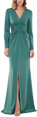 Kay Unger Kayla Stretch Faille Slit Gown