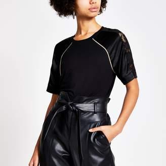 River Island Womens Black lace satin sleeve T-shirt