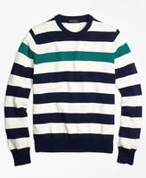 Brooks Brothers Contrast Chest Stripe Crewneck Sweater