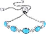 Sterling Silver Gemstone Station Adjustable Bracelet