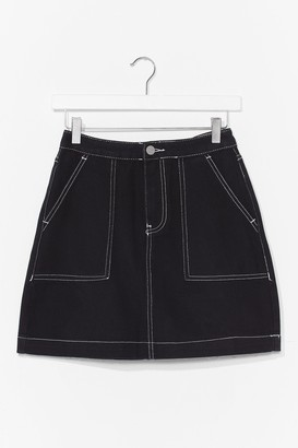 Nasty Gal Womens Stitch Denim Mini Skirt - Black - L