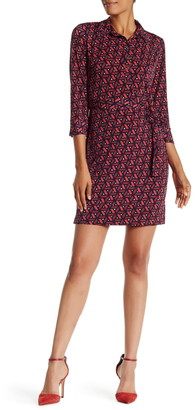 Donna Morgan 3/4 Length Sleeve Geo Print Shirt Dress