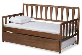 Baxton Studio Midori Modern and Contemporary Twin Daybed with Roll-Out Trundle Bed