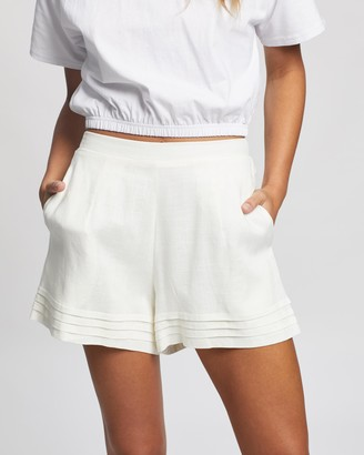 Atmos & Here Atmos&Here - Women's White High-Waisted - Sarah Linen Blend Shorts - Size 6 at The Iconic