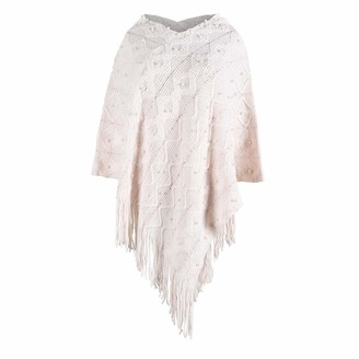 Rikay Women Capes Rikay Womens Poncho Lightweight Solid Sweater Shawl Pearl Knitted Patterns Cape Pullover with Fringed Hem Elegant Tops