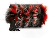 Elena Ghisellini Nina Mini Crazy Fur Clutch Bag, Papaya