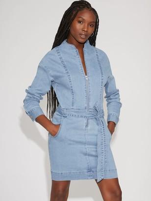 New York & Co. Zip-Front Denim Shirtdress - Gabrielle Union Collection