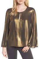 Bardot Women's Pleat Sleeve Metallic Top