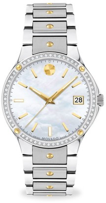 Movado SE Stainless Steel, Diamond & Mother-Of-Pearl Watch