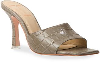 Black Suede Studio Valentina Mock-Croc Heel Slide Sandals