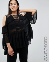 Asos Cold Shoulder Tiered Ruffle Blouse with Lace Insert