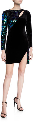 SHO Sequin Velvet Long-Sleeve Mini Cutout Dress with Split
