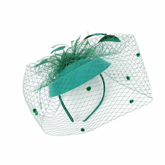 Foroner Hats & Caps Foroner Mesh Hat Feather Headband Headwear Pillbox Tea Party Hat Cocktail Headdress Weddings Headpieces Ladies Day Royal Leaves Comb Hairpin (Green)