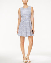 Maison Jules Gingham-Print Eyelet Fit & Flare Dress, Only at Macy's