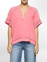 Calvin Klein Womens Perforated Trim Boho Top