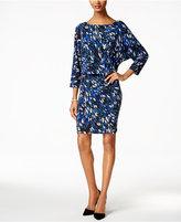Nine West Printed Blouson Jersey Dress