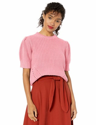 Lucky Brand Women's Pleat Shoulder Short Sleeve Sweater